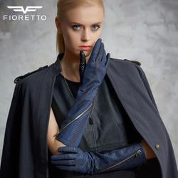 Fioretto, женские зимние длинные перчатки, перчатки из натуральной кожи, змеиные перчатки на молнии, модные перчатки, термоперчатки для вождени...