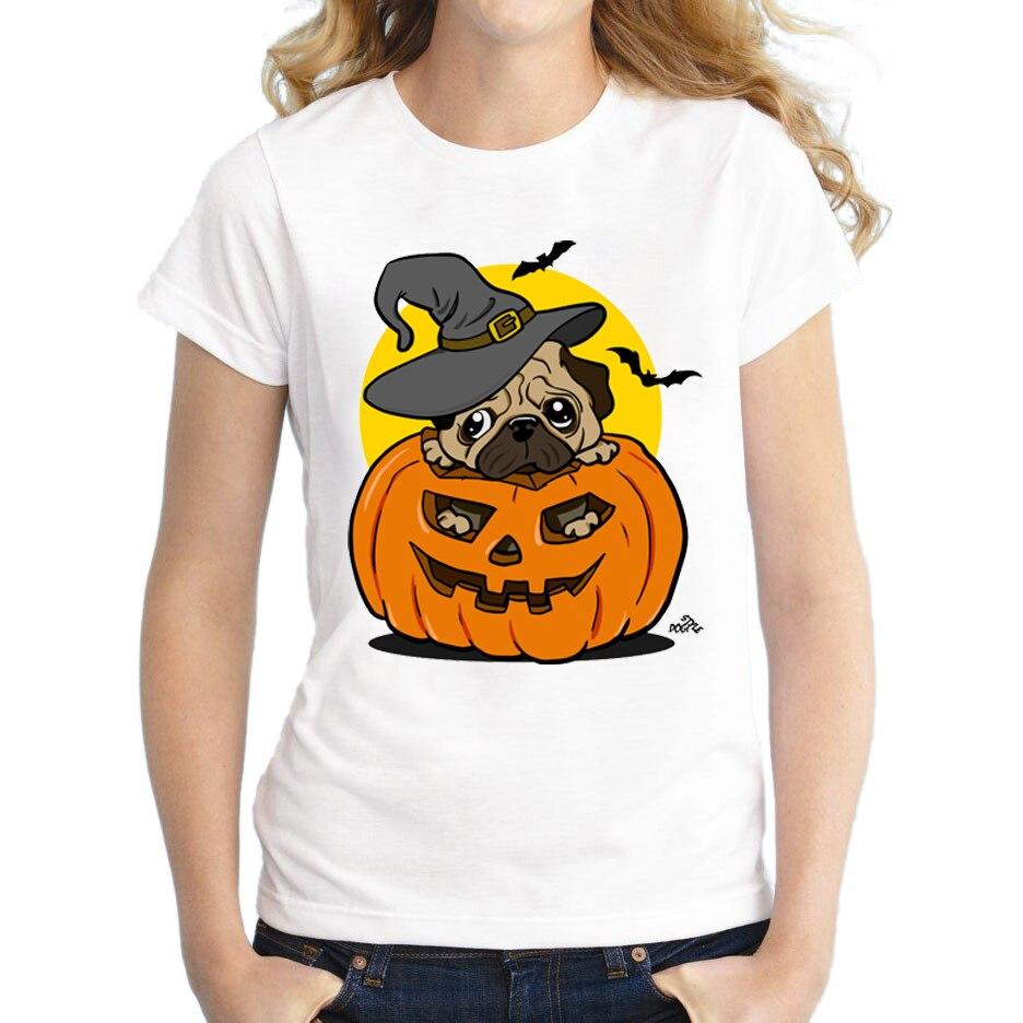 Design t shirt china - 2017 Newest Women Halloween Pug Dog Printed T Shirt Short Sleeve Fashion Pumpkin Design T