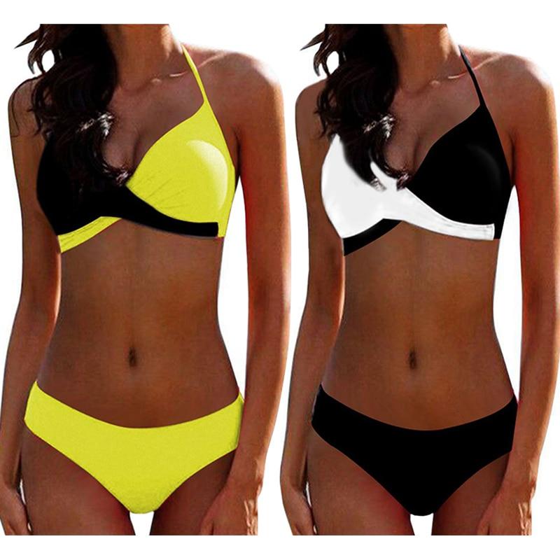 2019 Sexy Push up Two piece Bikini Women Swimsuit Criss Cross Halter Bikinis Plus size Female Bathing suit Swim wear Beachwear in Bikinis Set from Sports Entertainment