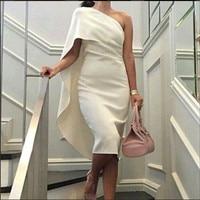 Saudi Arabia Dress 2015 New Custom White Satin Sheath One Shoulder Mid Calf Party Cocktail Dresses