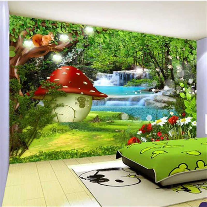 beibehang Custom wallpaper 3d photo mural cartoon children's room fantasy forest decorative mural background 3d wall paper mural