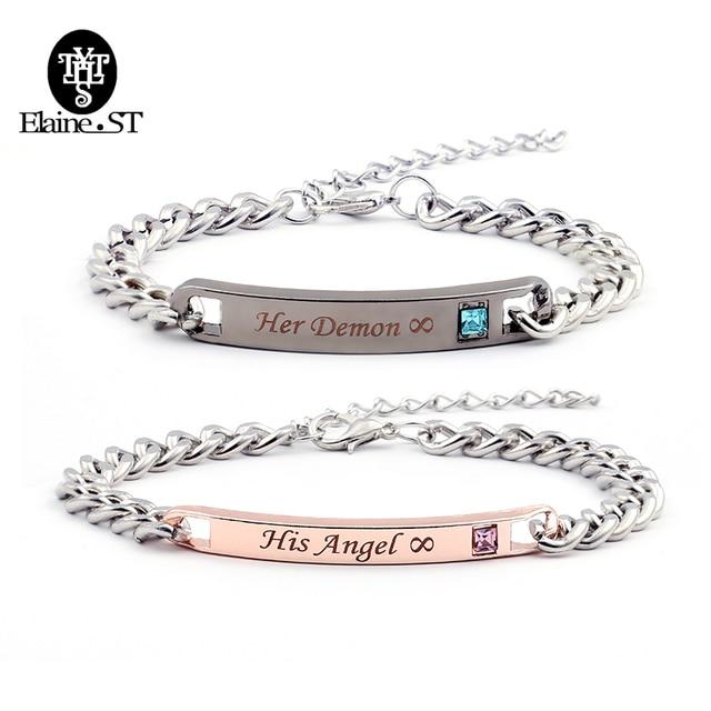 Whole His Angel Her Demon Bracelets Lifetime Love Wedding Jewelry Men Promise