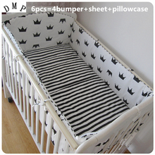 Promotion! 6PCS Bedding Set Baby Toddler Bed Crib Bumper Set Baby Sheet (bumpers+sheet+pillow cover)(China)