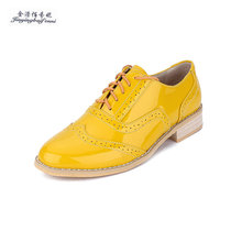 Fashion British Style Carved Genuine leather Yellow Color matching Lace-up Big Yards Oxford Shoes Women optional Leisure shoes(China)
