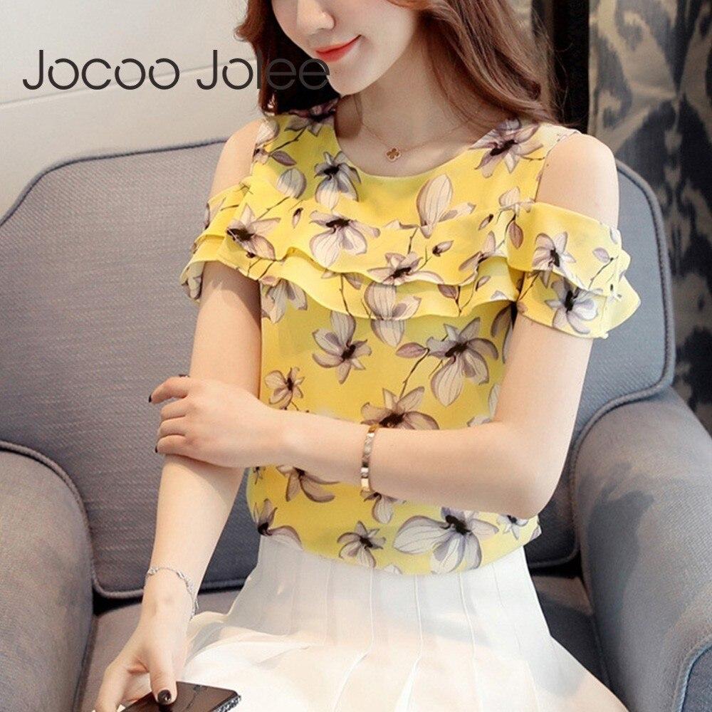 Jocoo Jolee Women Elegant Floral Print Blouses Korean Slim Chiffon Blouse Short Sleeve Cold Shoulder Shirts Female Tops