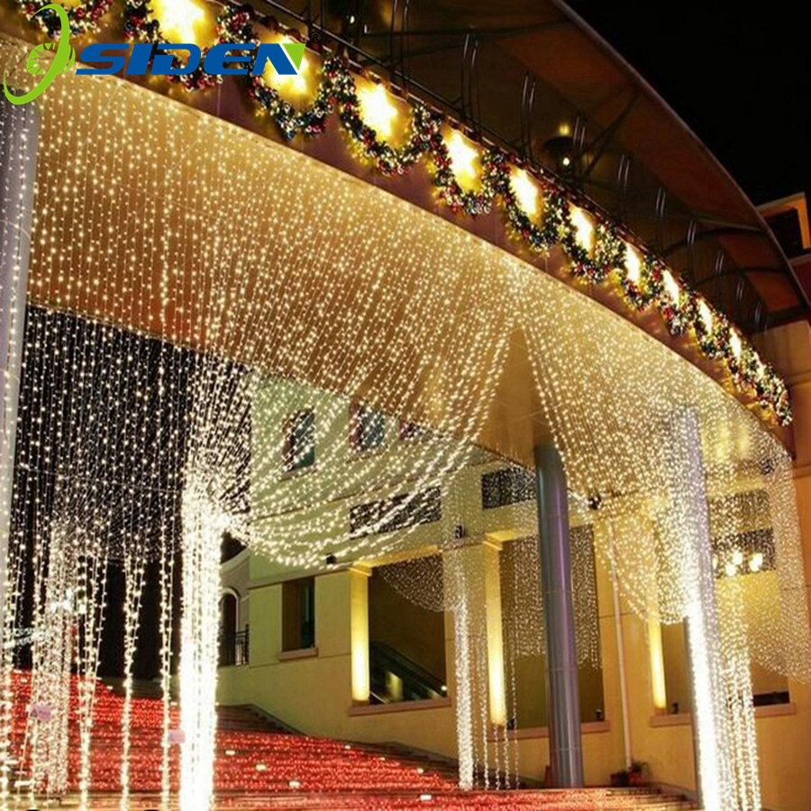 Cadena de LED 3 m X 3 m 300LED cortina de luz icicle Navidad luz 4*1 m guirnalda de luces de hadas fiesta de cumpleaños jardín boda 220 V 110 V