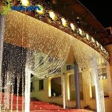цена на 3M x 3M 300 LED Wedding Light icicle Christmas Light LED String Fairy Light Bulb Garland Birthday Party Garden Curtain Decor