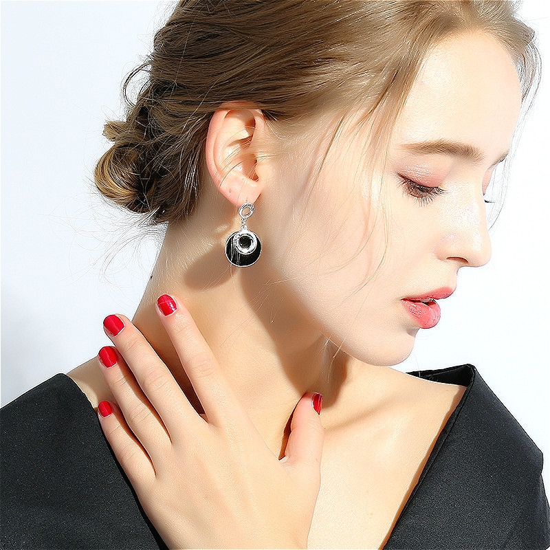 Flyleaf Handmade 925 Sterling Silver Asymmetry Drop Earrings For Women Round Circle Dangle Statement Earings Fashion Jewelry