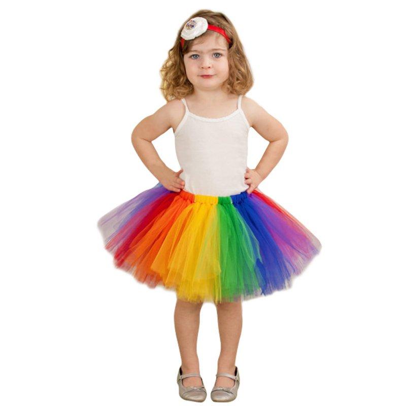 2017 Summer Fluffy 3 Layer Girls Rainbow Tutu Skirts Baby Kids Tulle Tutu Skirt Children Baby ...