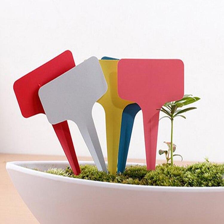 100pcsset Color Random Plastic Plant T-type Tags Markers Nursery Garden Labels Gray 6*10cm