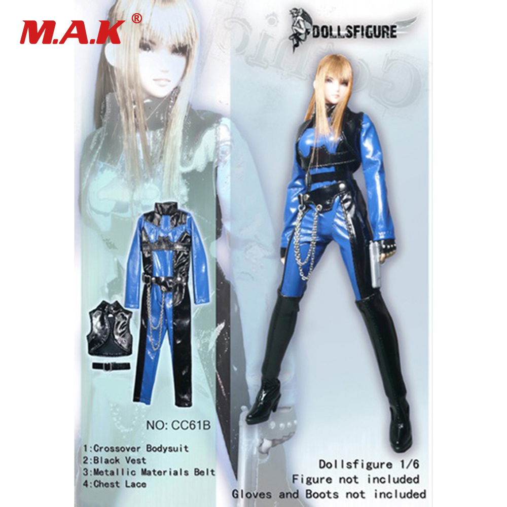 CC61B White/Red/Blue Colors Bodysuit 1:6 Scale Girl Black Leather Jumpsuit Suit Clothes for 12 Female Action Figures Bodies lson female to female breadboard jumper dupont cable white black red blue yellow 28 pcs