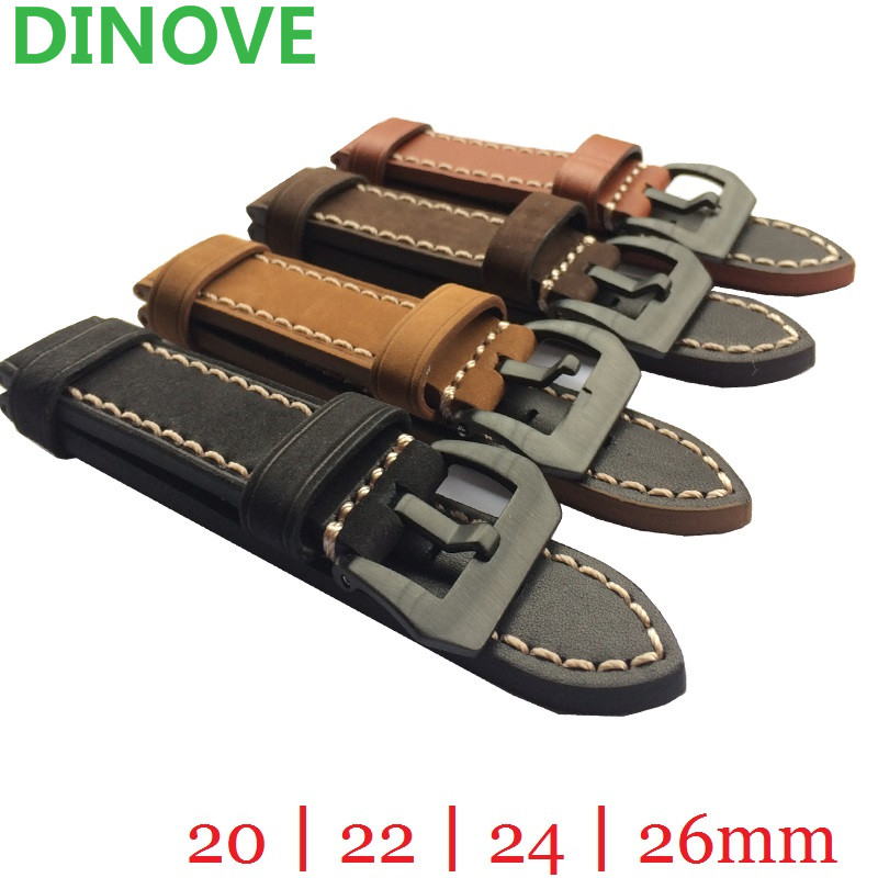 DINOVE 20mm 22mm 24mm 26mm Leather Watch Strap Watch Band Man Watch Straps Black Brown green