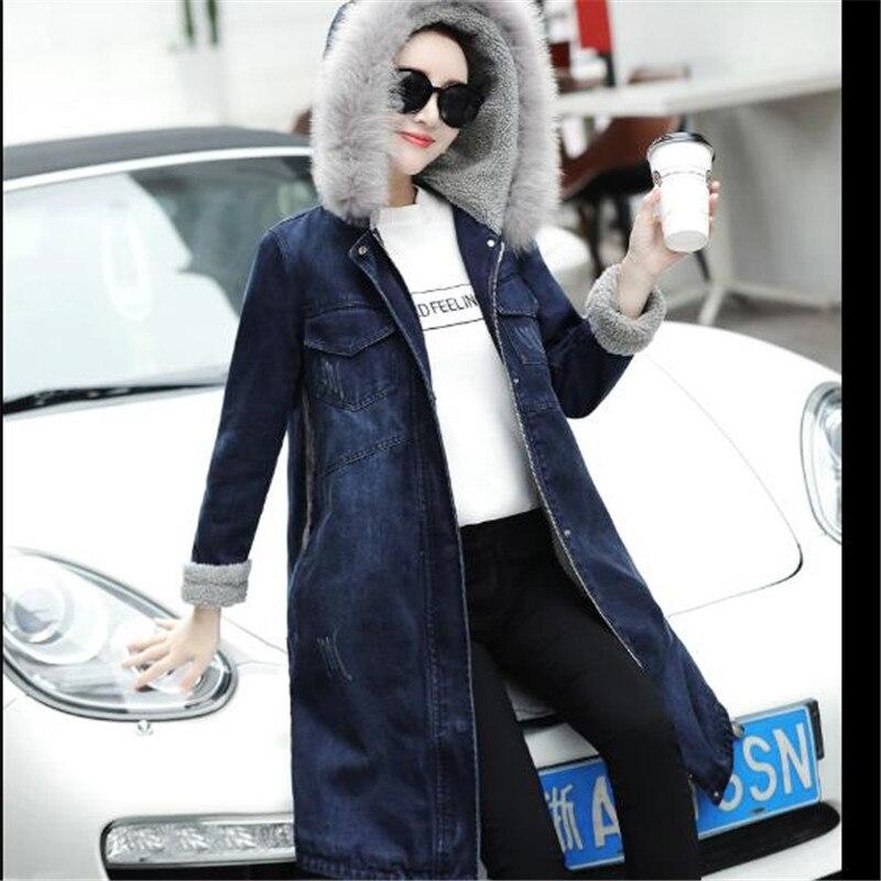 Basic Jackets Women's Clothing 2019 Winter Womens Denim Jacket Fur Collar Thick Velvet Jeans Jacket Female Plus Size Warm Parkas Lambswool Bomber Coats Girl