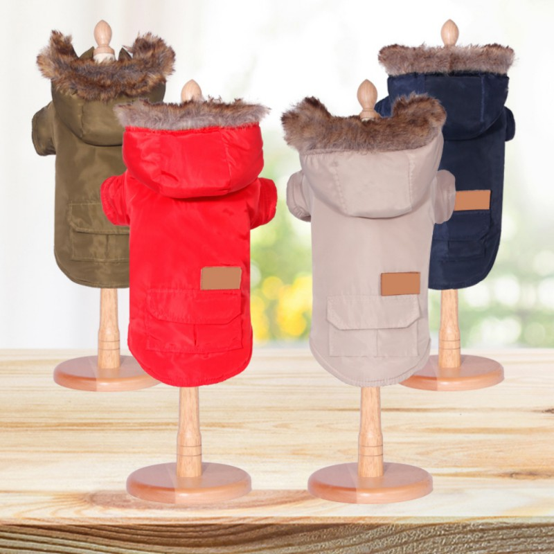 Ispessito Cotone Pet Cucciolo Di Cane Vestiti Caldi Di Inverno Del Collare Della Pelliccia Del Cappotto Vestiti Del Cane Di Inverno Frangivento Protezione Da Neve