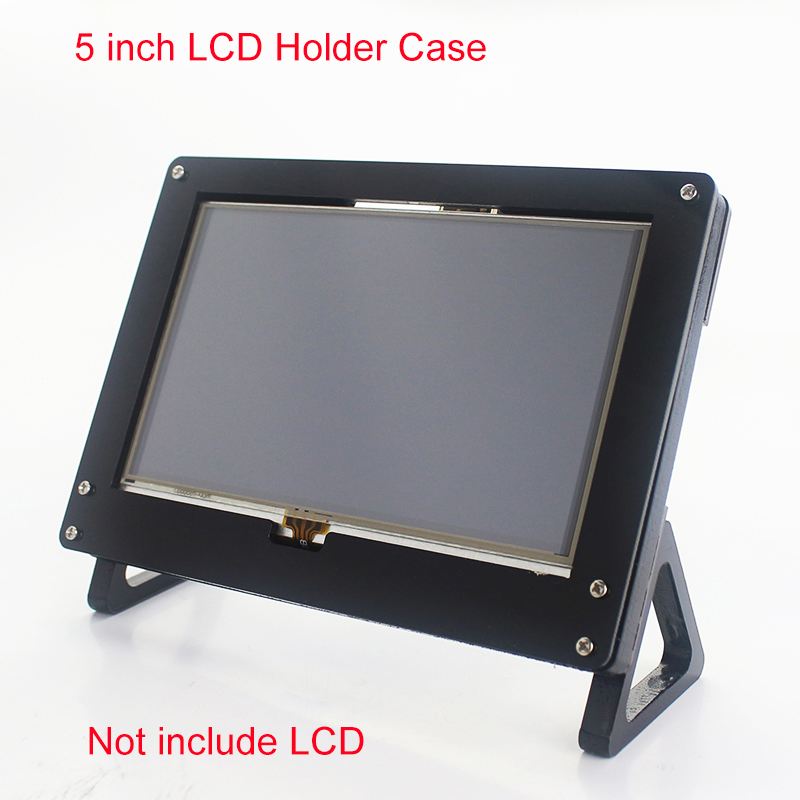 Raspberry Pi 3 Model B+ Plus 5 inch LCD Acrylic Bracket Case Black Fixed Bracket Holder for 800*480 Touchscreen Support