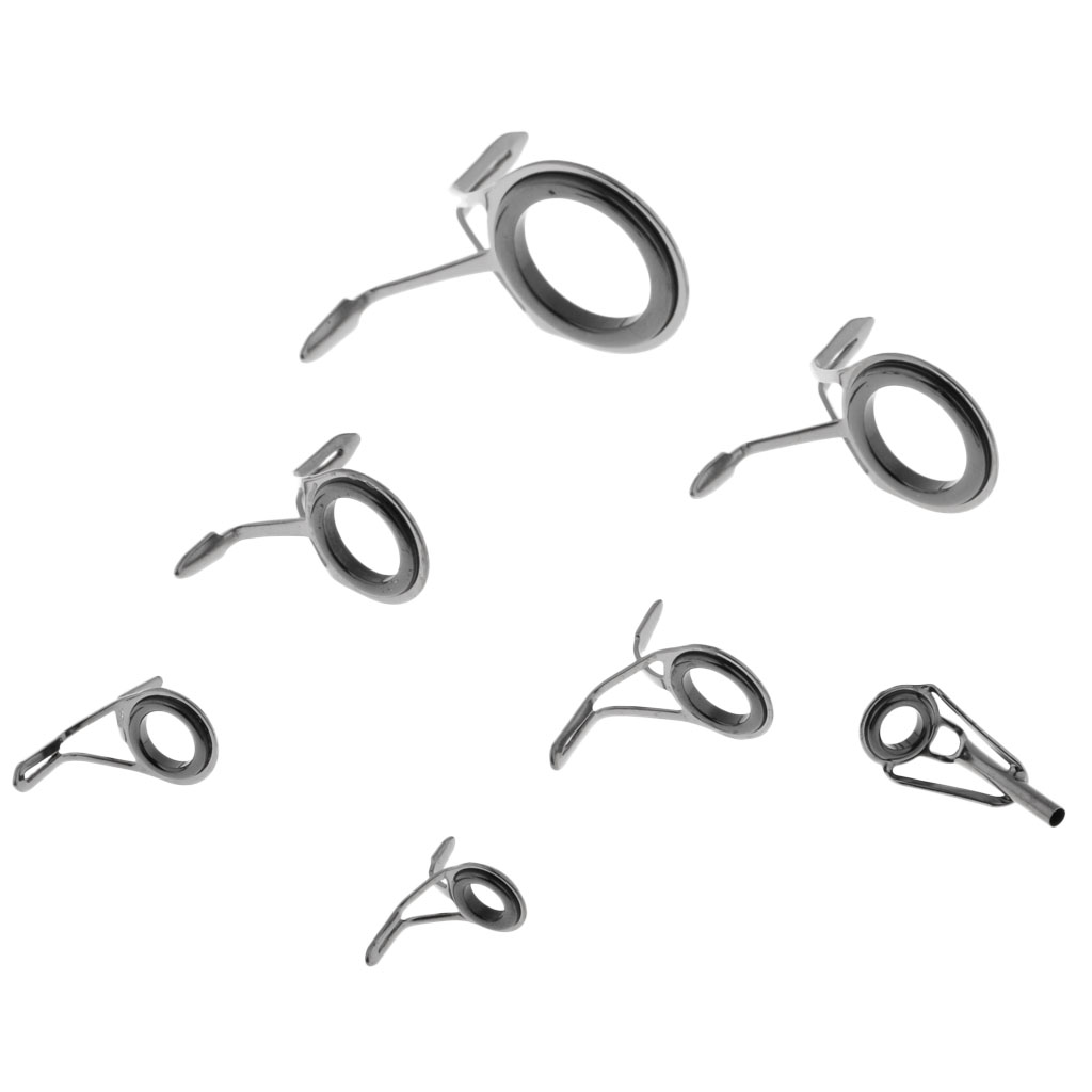 7pcs Ceramic Ring Eyes Fishing Rod Guides Double Leg Stainless Steel Frame Guías de pesca Rod canne à pêche guides in Fishing Rods from Sports Entertainment