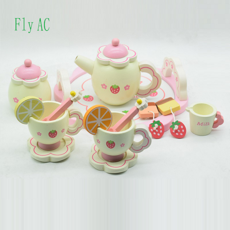 Fly AC Kids Learning Education Wooden Strawberry Simulation Tea set Toys for Children Birthday Christmas gift
