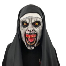 цена на Nun Mask Black Suitable for Adult Children Unisex Halloween Horror Scary Frightened Female Ghost Face Tricky Party Halloween