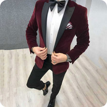 Burgundy Velvet Prom Suits Smoking Jacket Men Wedding Black Peaked Lapel Groom Tuxedos 2Piece Slim Fit Terno Masculino