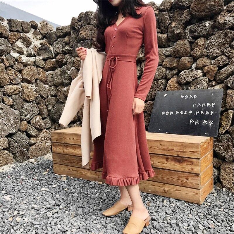 Printemps Rusty Conduites Femme black Red Femmes 2019 De Robes Noir Pour D'automne Élégant Partie Vintage Coréenne Robe Carburant My2178 r4SnWqavr
