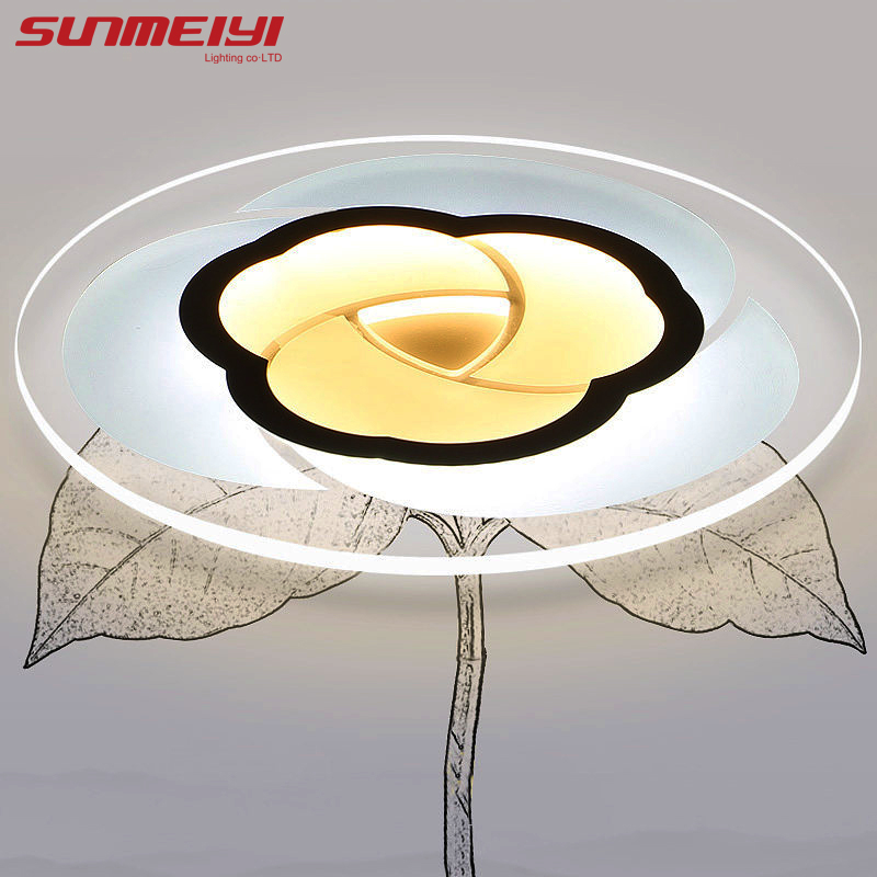 Modern Acrylic Flower Remote Control LED Ceiling Lights for Living Room Bedroom Led Dimming Ceiling Lamp Fixture luminaria teto black white modern led ceiling lights for living study room bedroom rectangle remote control dimming luxury ceiling lamp fixture