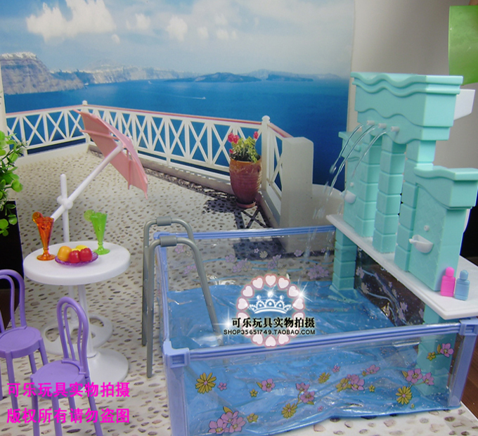 New doll house furniture accessories plastic play set doll swimming pool for barbie doll 1 6 for Barbie doll house with swimming pool