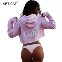 Articat 2017 Autumn Sexy Sweatshirt Hoodies Women Tops Cute Pink Loose Casual Short Jumper Long Sleeve