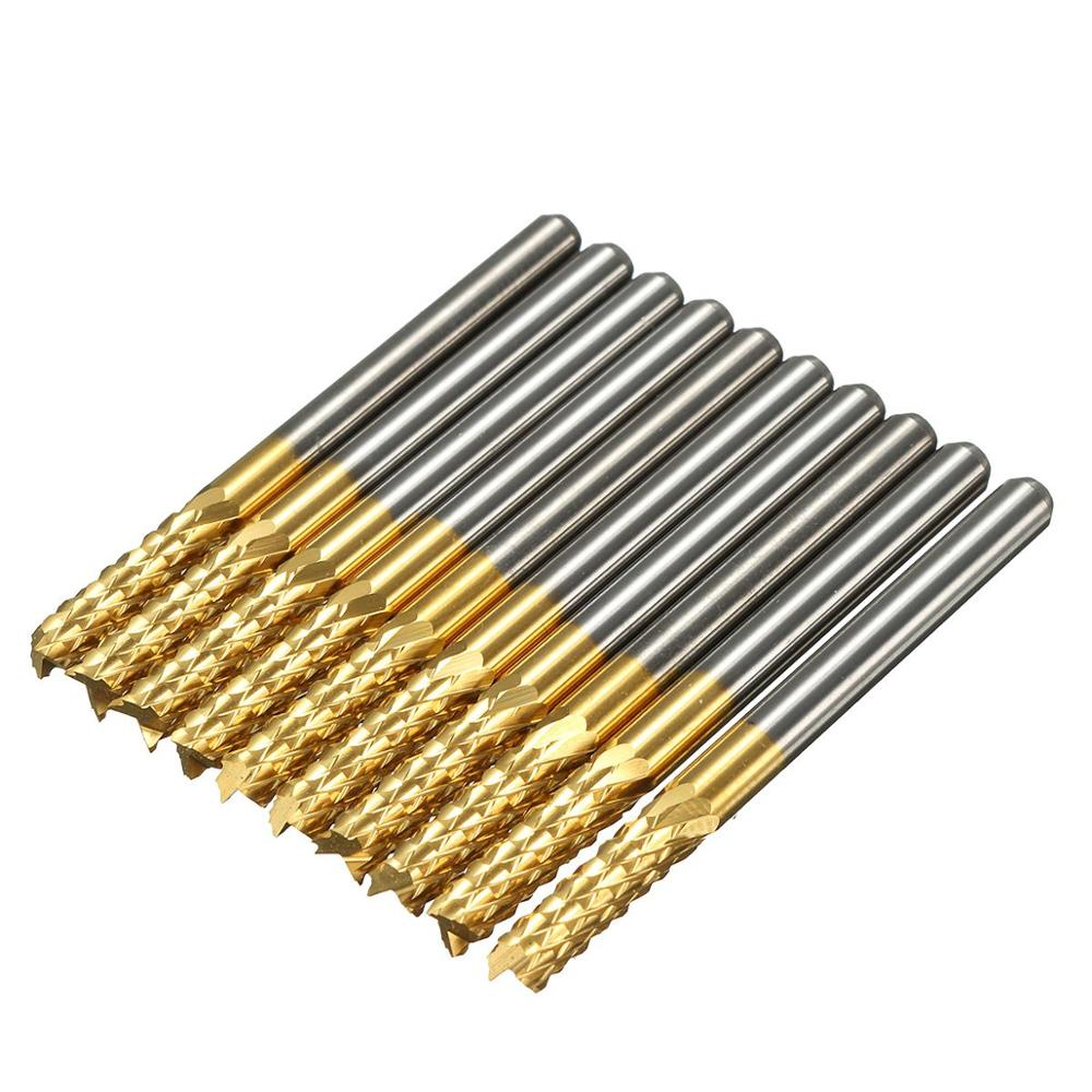 10Pcs/Box Titanium Coat Carbide 3.175X12mm End Mill Engraving Bits CNC Rotary Burrs Set Corn Milling Cutter PCB Router Bits 10pcs 1 2mm tungsten steel titanium coat carbide end mill engraving bits cnc pcb rotary burrs milling cutter drill bit