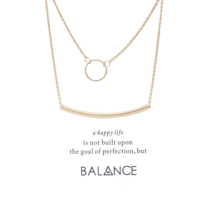 Lucky Eye Bohemia Circle Bends Tube Jewelry Necklace Wish Card Of A Balance Happy Life For Women Fashion Jewelry Gift image