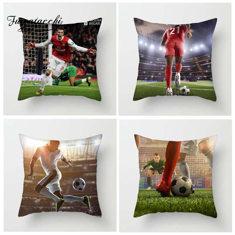 Fuwatacchi Soccer Ball Sports Style Cushion Cover Famous Soccer Ball Star Printed Pillow Cover Decorative Pillows For Sofa Car