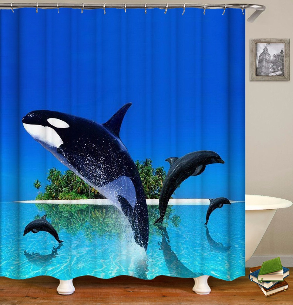 Us 20 27 30 Off Dfh Custom New Cartoon Ocean Bathroom Polyester Fabric Print Dolphin Shower Curtain Bathroom Waterproof Cartoon Shower Curtain In