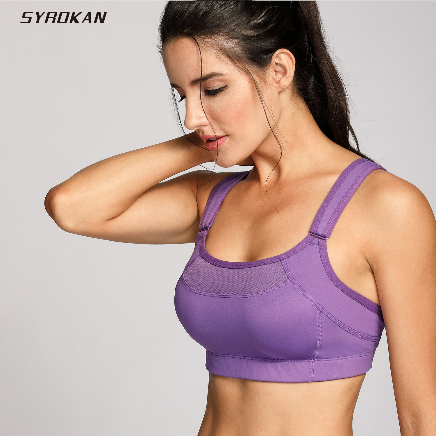 SYROKAN Women's Bounce Control Wirefree Maximum Support High Impact Sports Bra