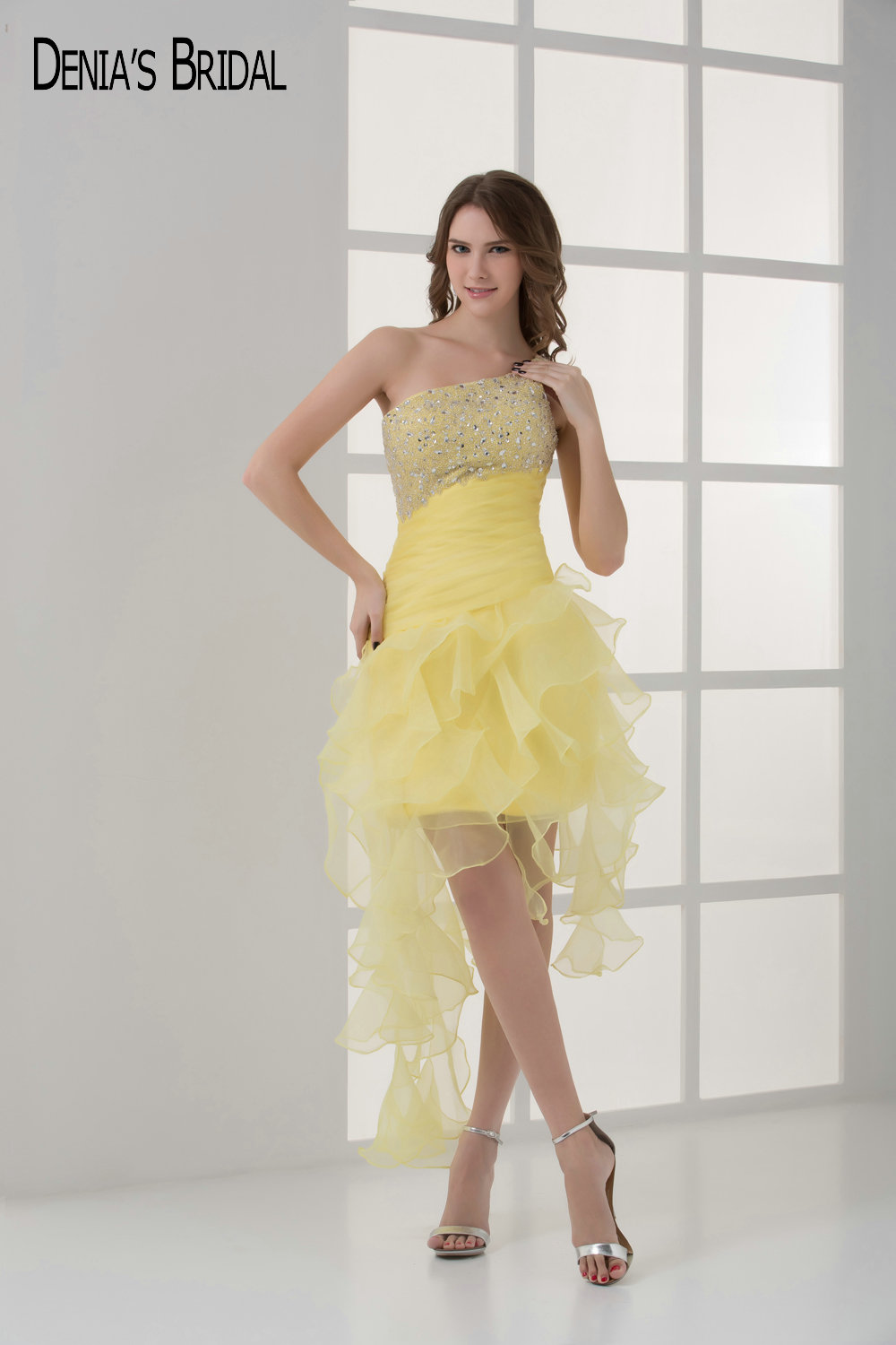 2017 Short Yellow Cocktail Party Dresses With Strapless Neckline