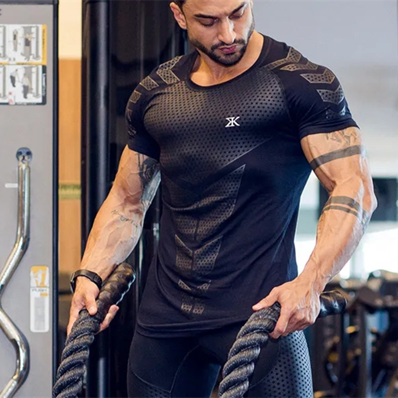 New Men Fitness Bodybuilding Skinny   T  -  shirt   Short sleeve Compression   shirts   Male Summer Gyms Workout Tee Tops Crossfit Clothing