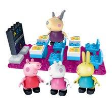 Peppa Pig Amis Parti décorations aire de jeux Classe Scène Buiding Blocs Jouets Chiffres Learning Construction Kit Pour Filles Garçons