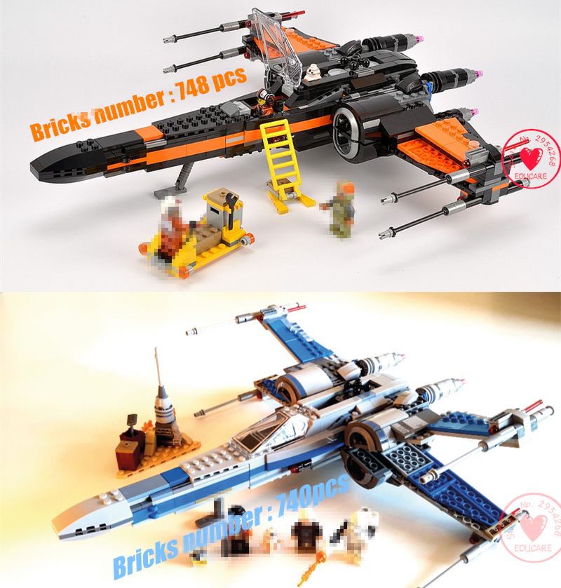 Space wars First Order Poe's X-wing Fighter star model building blocks X wing boys Toys compatiable with lego kid gift set