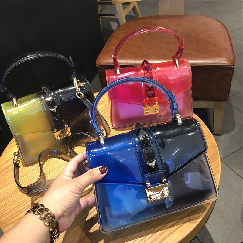 Clear Transparent Saddle Bag Rivet Jelly Bags Purse Panelled Color S Sac A Main Femme Shoulder Bag