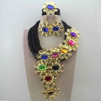 Splendid Black Crystal Statement Necklace Set Wedding African Colourful Beads Flower Jewelry Set For Women Free