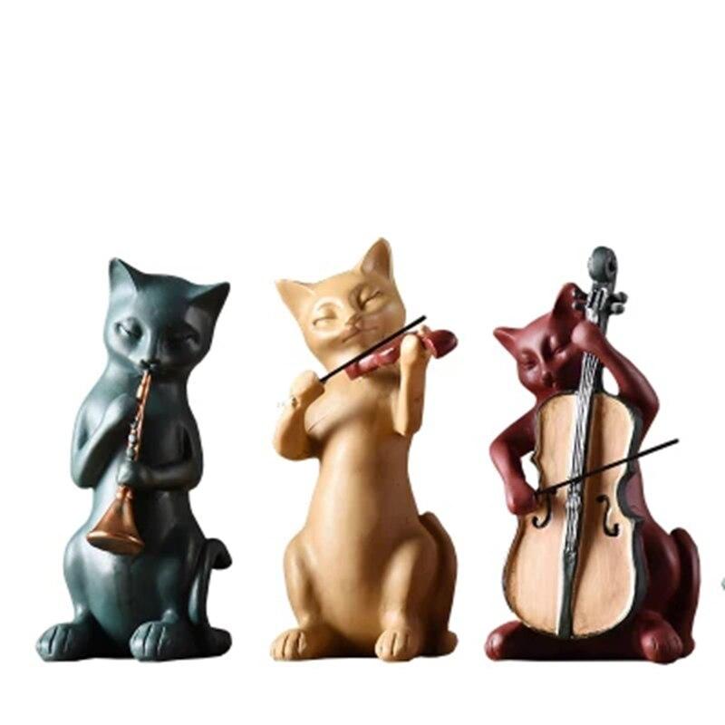 Accessoires de décoration maison décorations résine ornements salon maison Figurines trois chats bande décoration artisanat cadeaux
