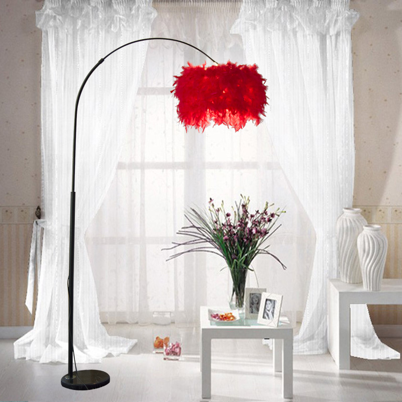 Big Feathery Foyer Floor Lamp Light Living Room Ajustable Sofa Reading Bedside Bedroom Feather Standing