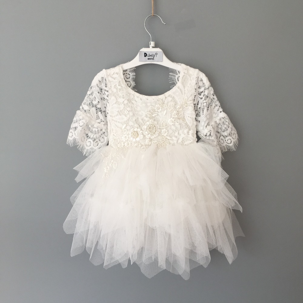 Ballroom ceremony dress flower Girl soft Lace princess dress Baby girl tulle dress costume for children