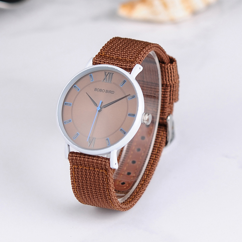 BOBO BIRD stainless steel Watches for Womens Silicone nylon Band Ladies Wrist Watch quartz in gift box bobo bird c16 womens leather strap zebra wooden watches ladies brand deginer top quartz wood watch in gift box for dropshipping