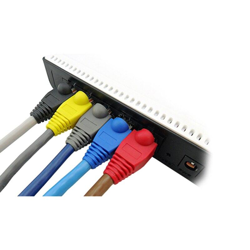 Купить с кэшбэком 20pcs/lot Network Jack pvc Plug Of  RJ45 Connectors rj45 Boots Caps Cat5e Cat6 10colors or each color 20pcs