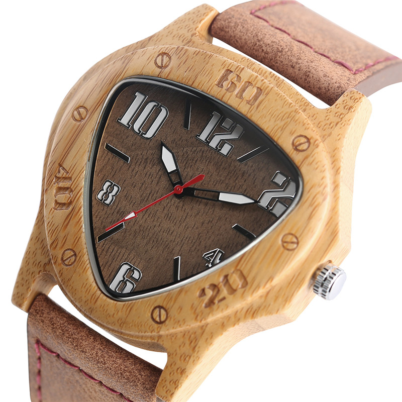 Unique Wooden Watches for Men Sport Racing Design Geometric Triangle Man's Quartz Watch Bamboo Relogio Masculino Orologio Uomo цена
