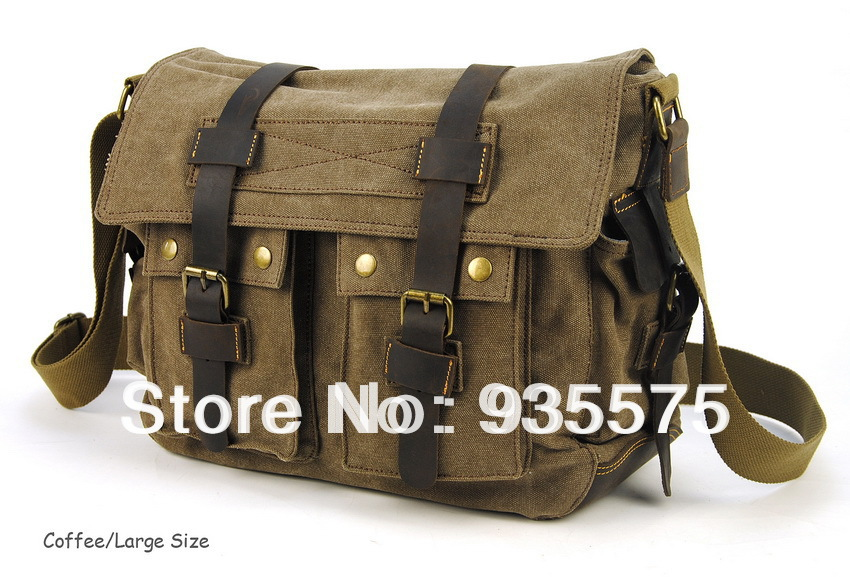 Men Canvas Vintage Leather Messenger School Book Bag Crossbody Handbag Satchel Shoulder Flap Zip Casual Laptop Designer Purse On Aliexpress