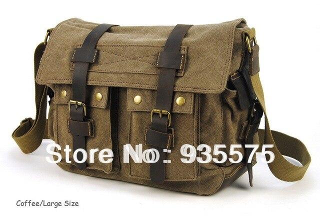 Men Canvas Vintage Leather Messenger School Book Bag Crossbody Handbag Satchel Shoulder Flap Zip Casual Laptop