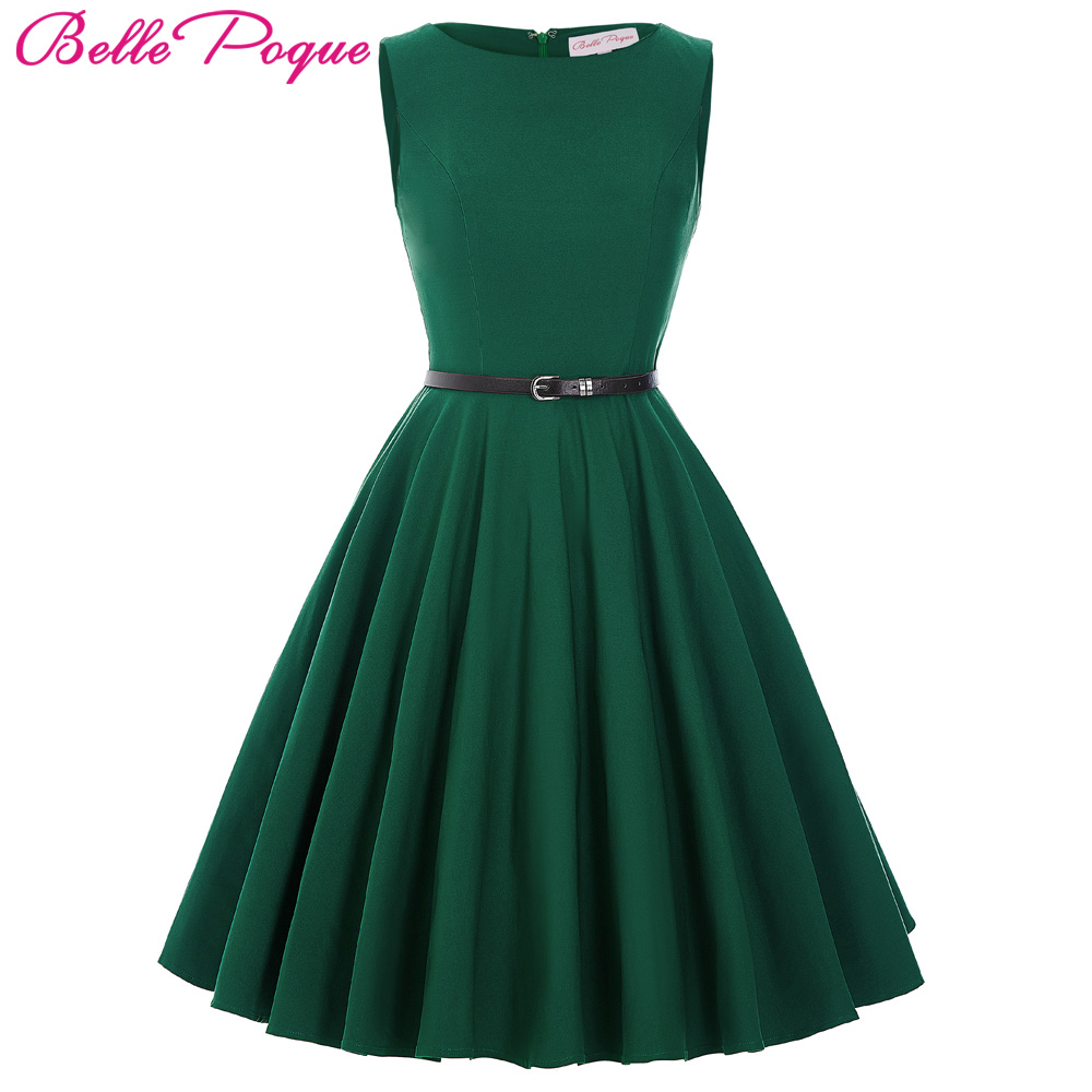 Belle Poque Women Dress 2017 Plus Size Black Red Green