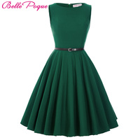 Belle Poque Women Dress 2018 Plus Size Black Red Green Casual Summer Dress 50s 60s Retro Vintage Rockabilly Party Swing Dresses