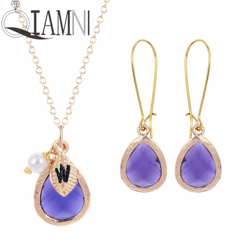 QIAMNI Jewelry Sets Purple Stone Necklace Earrings Colorful Crystal Initial Beautiful Bridesmaid Necklace for Women Gift