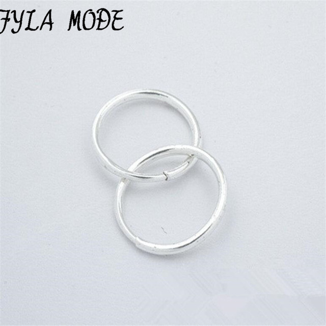 S990 Sterling Silver Endless Small Dia 8mm Circle Hoop Earrings For Women Baby Kids Jewelry